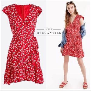 J.crew | Red floral faux wrap print dress NWT